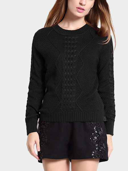 Black Cable Jumper with Mesh Splice Back