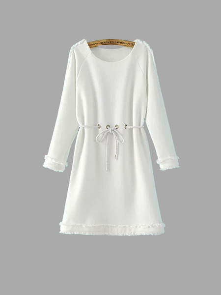 White Tunic Dress with Raw Edge and Rope Tie Waist
