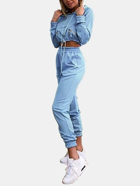 Active Cut Out Zip Pockets Hooded Design Tracksuit in Light Blue