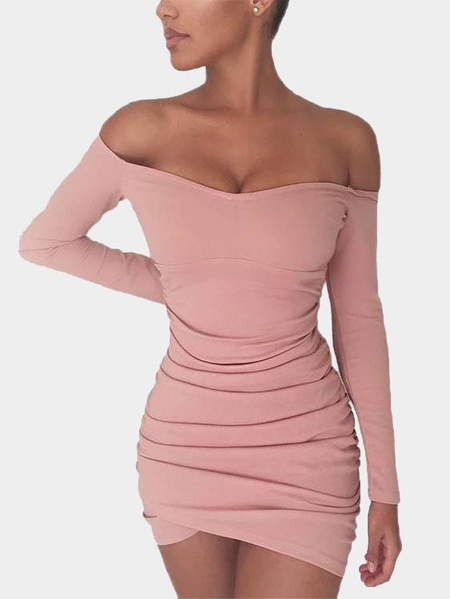Pink Pleated Design Off The Shoulder Long Sleeves Dress