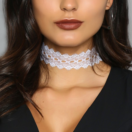 White Fashion Trend Lace Tattoo Choker Collar Necklace Chain