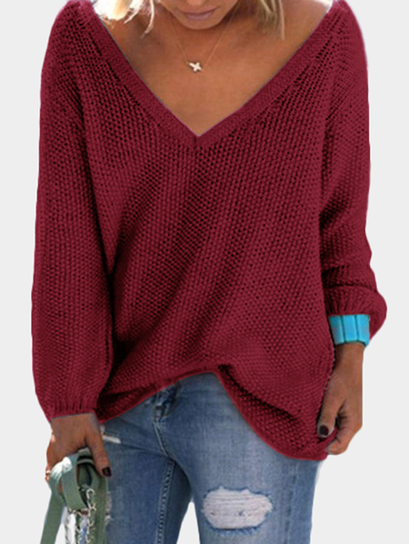 Red Classic Design Loose Plunge Sweater