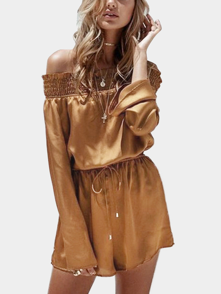 Brown Off Shoulder Long Sleeves Playsuit