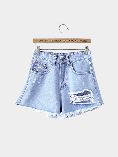 Cutoff Ripped Denim Shorts