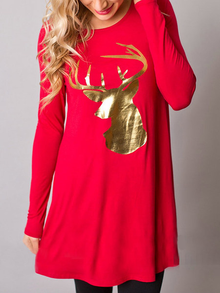 Red Elk Print Round Neck Long Sleeves A-line Mini Dress