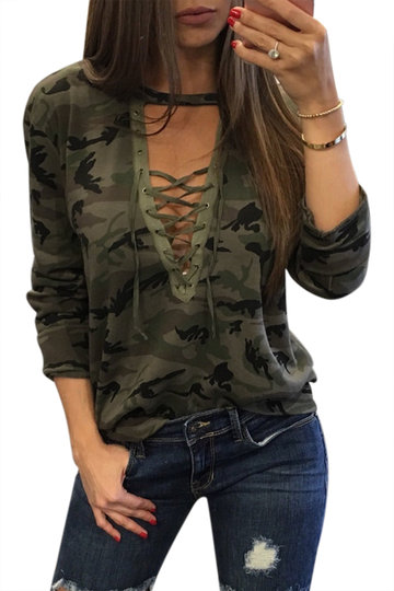 Sexy Camouflage Muster V-Ausschnitt Lace-up Front Top