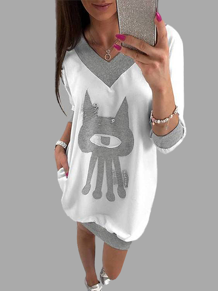 White and Grey Cartoon Pattern V-neck Long Sleeves Hoodie Dress