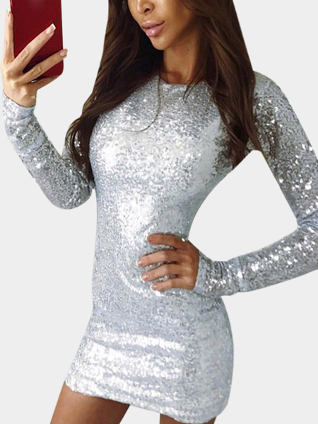 White Sequins Embellished Round Neck Long Sleeves Bodycon Dress