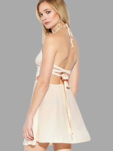 Tie Halter Open Back Mini Dress