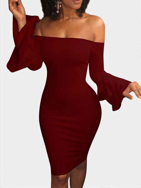 Burgundy Off Shoulder Ruffle Bell Sleeves Bodycon Mini Dresses