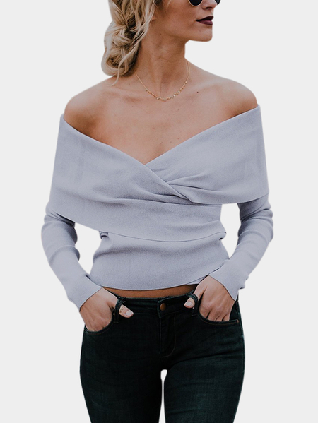 Grey Crossed Front Design Off The Shoulder Long Sleeves Sweaters
