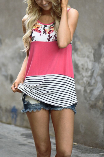 Pink Stitching Stripe Pattern Vest with Contrast Color