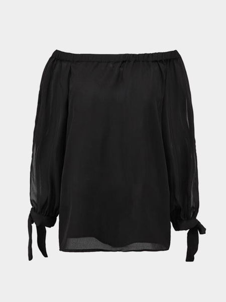 Black Off Shoulder Sleeves Side Slit Chiffon Blouse