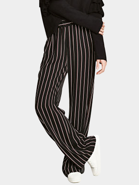 Black Stripe Wide Leg High-waisted Pants