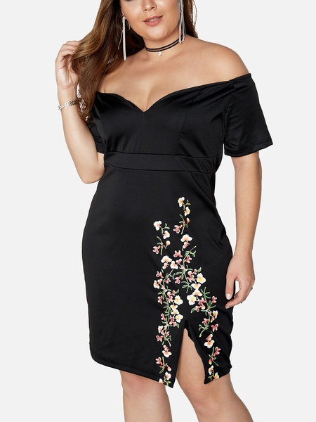 Black Floral Print Off The Shoulder Slit Hem Midi Dress
