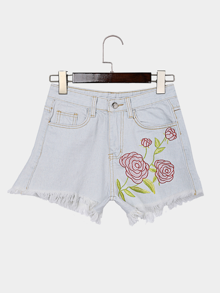 Light Blue Random Rose Embroidered High Waist Bodycon Denim Shorts