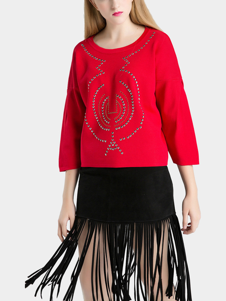 Red Beaded Embellished Short Jumper