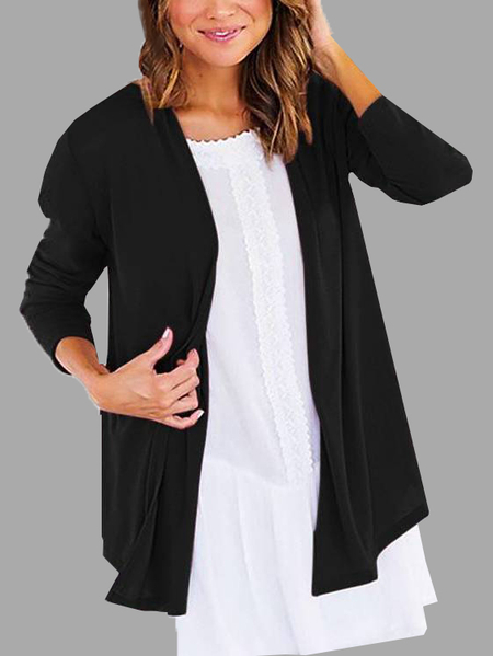 Black Basic Cotton Cardigans