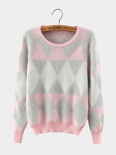 Fluffy Diamond Long Sleeve Sweater in Pink