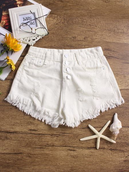 White Random Ripped Details Denim Shorts