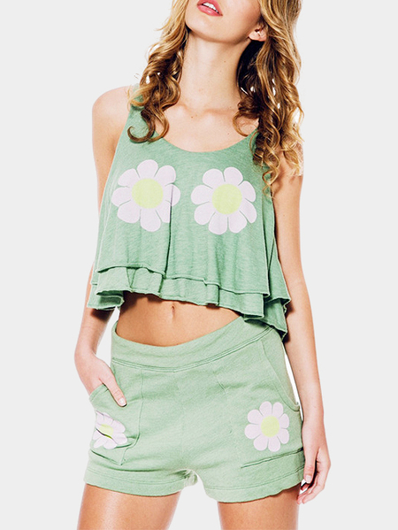 Fashion Round Neck Floral Print Pattern Crop Top
