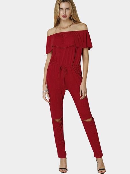 Red Off Shoulder Drawstring Waist Side Pockets Jumpsuit with Rips Details