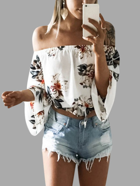White Elastic Strap Random Floral Print Off The Shoulder Blouse