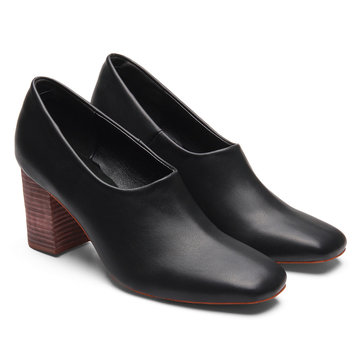Black Square Toe Chunky Heel Leather Look Chaussures
