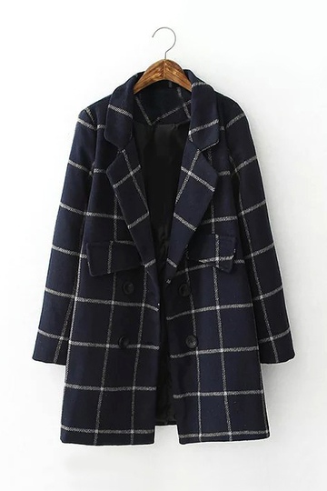 Navy Lapel Tartan Coat with Doubel Breasted