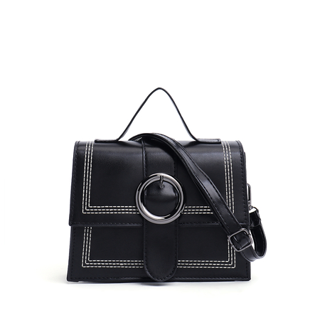 Black Top Handle Round Buckle Crossbody Bag