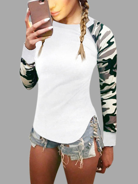 White Camouflage Crew Neck Long Raglan Sleeves T-shirt