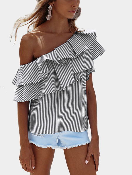 Black Sexy Stripe Pattern One Shoulder Flouncy Details Top