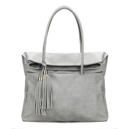 Grey Hidden Pocket Tassel Embellished Handbag