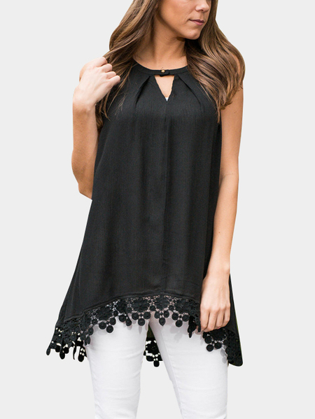 Black Lace Stitching Irregular Hem Crew Neck Sleeveless Casual Blouse