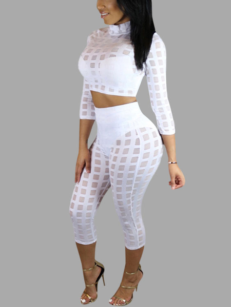 White Crew neck Long Sleeves Top & Skinny Cropped Trousers Suit