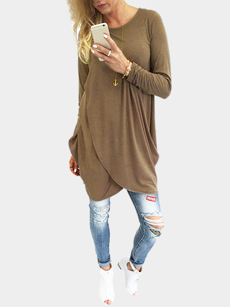 Coffee Casual Irregular Mini Dress