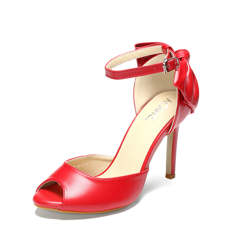 Red Bow Design Peep-toe High Heels