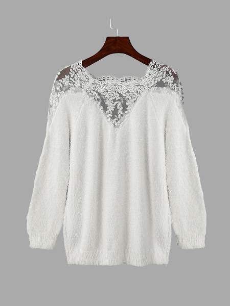 White Lace Details Long Sleeves Knitwear