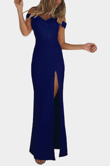 Blue Off Shoulder Splited Hem Maxi Dress