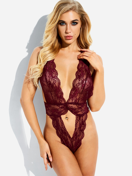 Burgundy Deep V-neck Backless Cut-out Design Lace Teddy