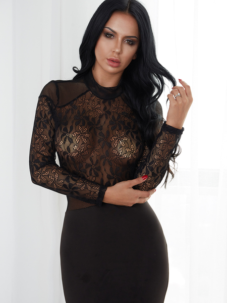 Black Lace Details Crew Neck Long Sleeves Maxi Dress