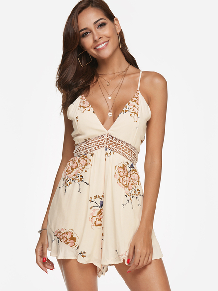 Beige Random Floral Print V-neck Sleeveless Playsuits