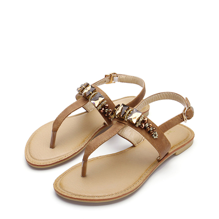 Brown Rhinestone Embellishment Flat Sandals