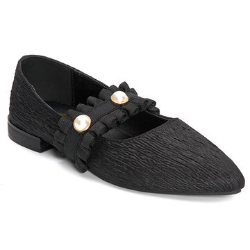 Black Pleated Design Flat Ballet with Pearl Embellished