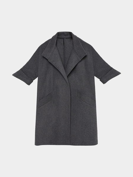 Grey 1/2 Sleeve Fleece Trench Coat