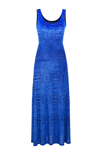 Blue Backless Velvet Maxi Dress with Baroque Pattern