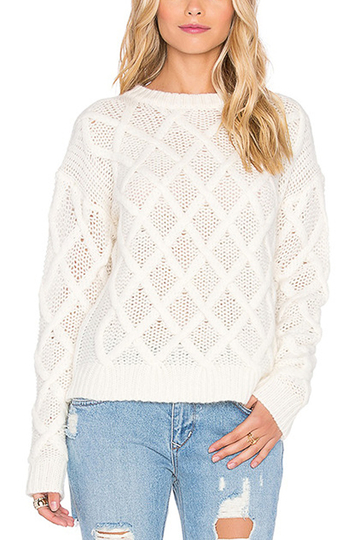 Pure Color Rhombus Pattern Pullover Jumper