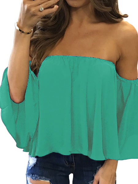 Peacock Blue Sexy Off Shoulder Loose Fit Blouse