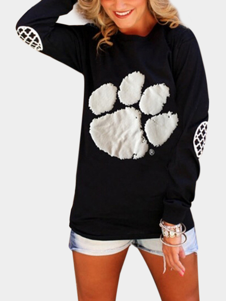 Black Printed Crew Neck Long Sleeves Sweatshirts