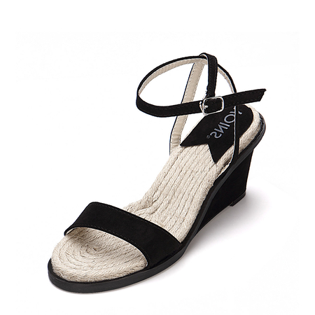 Black One Strap Across Woven Style Sole Wedge Sandals